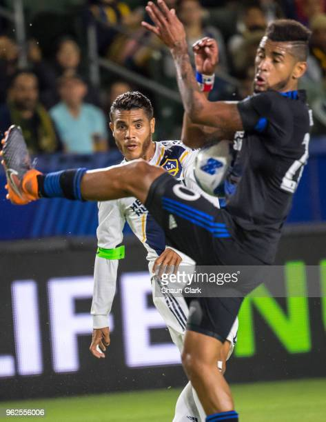 Jonathan dos Santos of Los Angeles Galaxy has a cross blocked during the Los Angeles Galaxy's MLS match against San Jose Earthquakes at the StubHub...