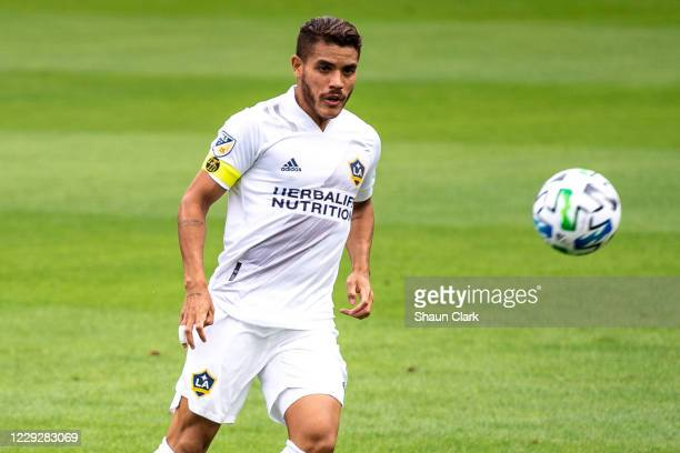Jonathan dos Santos of Los Angeles Galaxy kicks the ball during the match against Los Angeles FC at the Banc of California Stadium on October 25,...