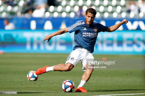 Jonathan dos Santos of Los Angeles Galaxy takes a shot on goal during a warm up ahead of a game against Real Salt Lake at Dignity Health Sports Park...