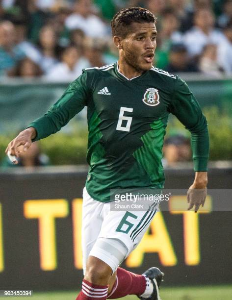 Jonathan Dos Santos of Mexico during the international friendly match between Mexico and Wales at the Rose Bowl on May 28 2018 in Pasadena California