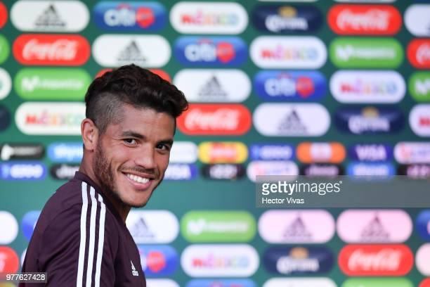 Jonathan dos Santos of Mexico gestures during a training session Press conference at Training Base NovogorskDynamo on June 18 2018 in Moscow Russia