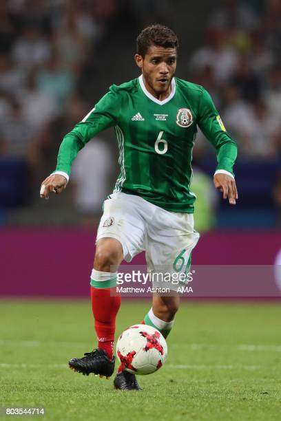 Jonathan dos Santos of Mexico in action during the FIFA Confederations Cup Russia 2017 SemiFinal match between Germany and Mexico at Fisht Olympic...