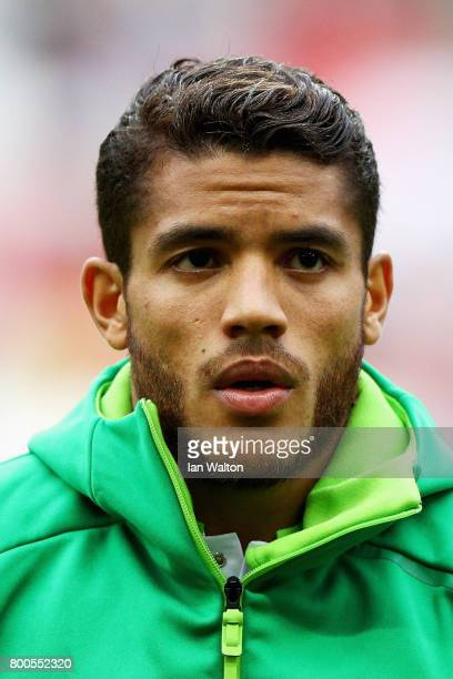 Jonathan Dos Santos of Mexico lines up prior to the FIFA Confederations Cup Russia 2017 Group A match between Mexico and Russia at Kazan Arena on...