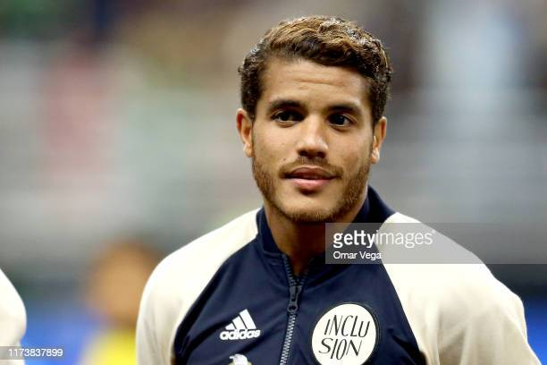 Jonathan dos Santos of Mexico looks on during the international friendly match between Argentina and Mexico at Alamodome on September 10, 2019 in San...
