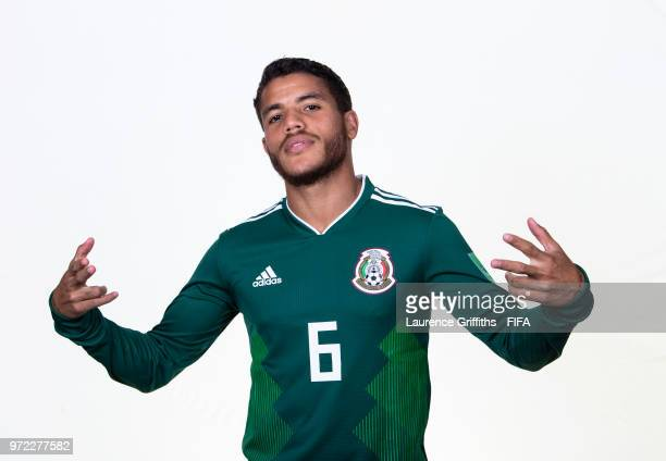 Jonathan dos Santos of Mexico poses for a portrait during the official FIFA World Cup 2018 portrait session at the Team Hotel on June 12, 2018 in...