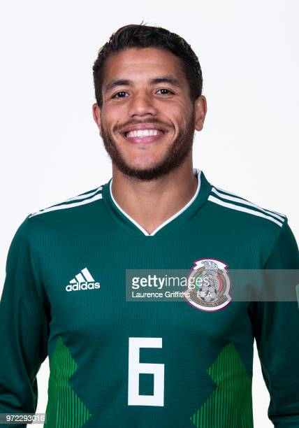 Jonathan dos Santos of Mexico poses for a portrait during the official FIFA World Cup 2018 portrait session at the Team Hotel on June 12 2018 in...