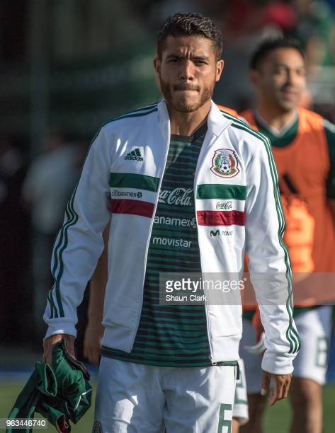 Jonathan Dos Santos of Mexico prior to the international friendly match between Mexico and Wales at the Rose Bowl on May 28 2018 in Pasadena...