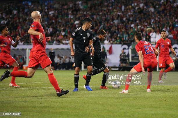 Jonathan dos Santos of Mexico scores a goal to make it 1-0 during the 2019 CONCACAF Gold Cup Final between Mexico and United States of America at...