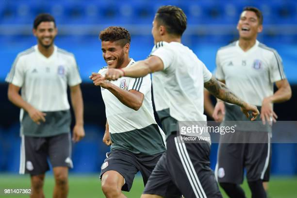 Jonathan dos Santos of Mexico smiles during a training session ahead of the match against Korea as part of FIFA World Cup Russia 2018 at Rostov Arena...