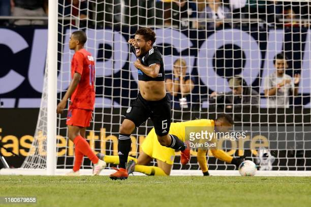 Jonathan dos Santos of the Mexico celebrates after scoring a goal in the second half against the United States during the 2019 CONCACAF Gold Cup...