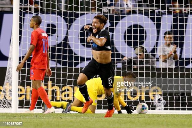 Jonathan dos Santos of the Mexico celebrates after scoring a goal in the second half during the 2019 CONCACAF Gold Cup Final at Soldier Field on July...