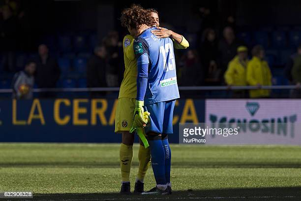 08 Jonathan Dos Santos of Villarreal CF and 13 Guillermo Ochoa of Granada CF during spanish La Liga Santander soccer match between Villarreal CF and...
