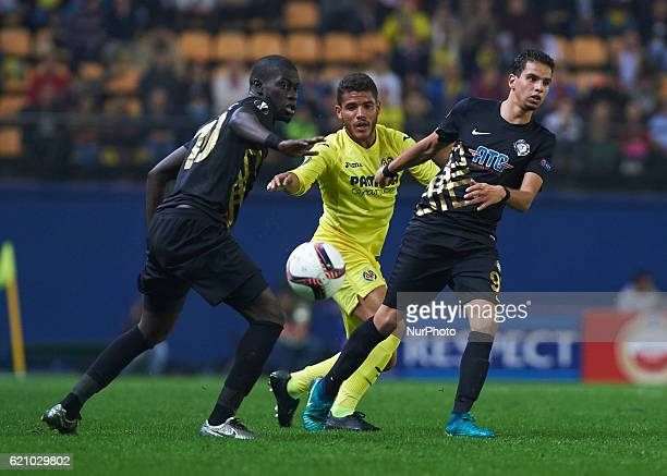 Jonathan Dos Santos of Villarreal CF in action against Badou Ndiaye and Adam Maher of Osmanlispor FK during the UEFA Europa League Group L football...