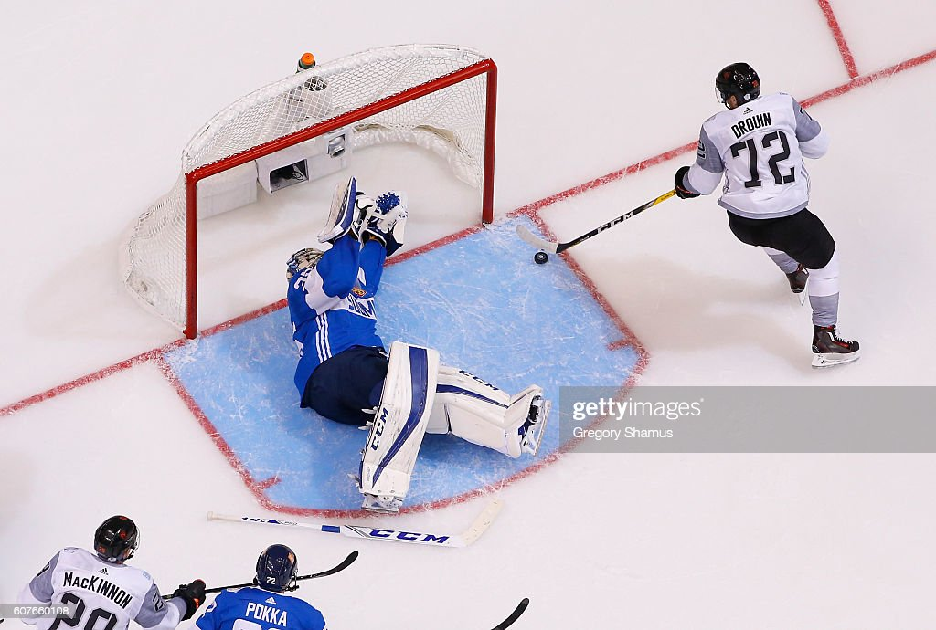 Jonathan Drouin #72 of Team North America scores a second-period goal against Pekka Rinne #35 of Team Finland during the World Cup of Hockey at the Air Canada Center on September 18, 2016 in Toronto, Canada. Team North America won the game 4-1.