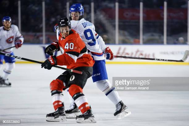 Jonathan Drouin of the Montreal Canadiens battles for position with Gabriel Dumont of the Ottawa Senators during the 2017 Scotiabank NHL 100 Classic...
