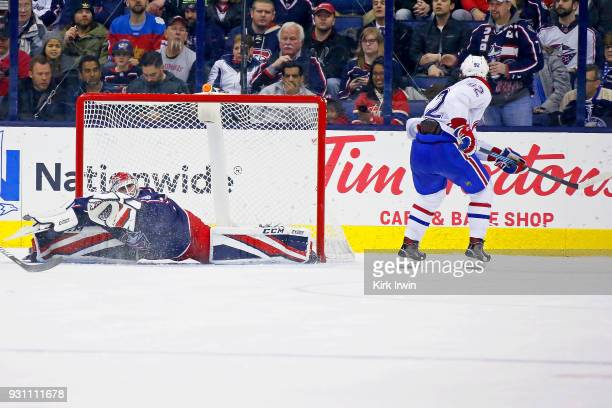 Jonathan Drouin of the Montreal Canadiens beats Sergei Bobrovsky of the Columbus Blue Jackets for a goal during the second period on March 12 2018 at...