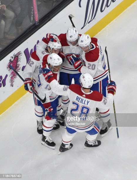Jonathan Drouin of the Montreal Canadiens celebrates after scoring a goal during the second period against the Vegas Golden Knights at TMobile Arena...