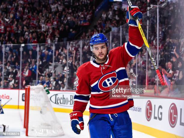 Jonathan Drouin of the Montreal Canadiens celebrates his second period goal against the Toronto Maple Leafs during the NHL game at the Bell Centre on...