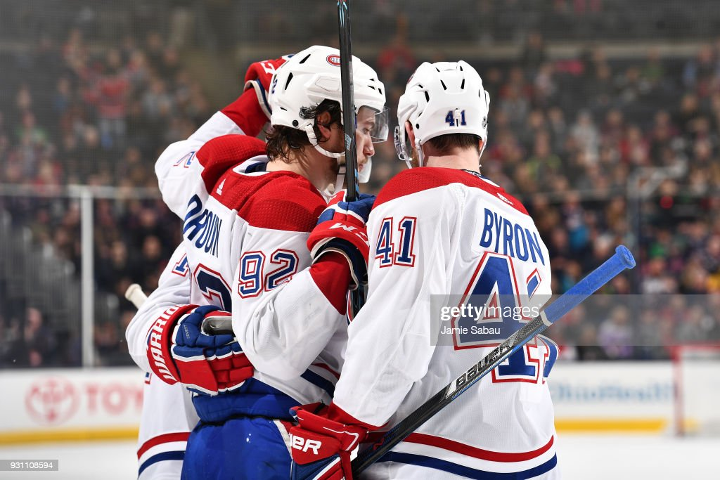 Jonathan Drouin #92 of the Montreal Canadiens celebrates his second period goal with his teammates during a game against the Columbus Blue Jackets on March 12, 2018 at Nationwide Arena in Columbus, Ohio.