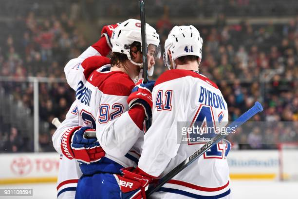 Jonathan Drouin of the Montreal Canadiens celebrates his second period goal with his teammates during a game against the Columbus Blue Jackets on...