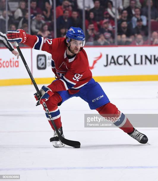 Jonathan Drouin of the Montreal Canadiens looks to pass the puck against the Boston Bruins in the NHL game at the Bell Centre on January 20 2018 in...