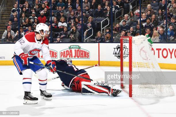 Jonathan Drouin of the Montreal Canadiens scores on goaltender Sergei Bobrovsky of the Columbus Blue Jackets during the second period of a game on...