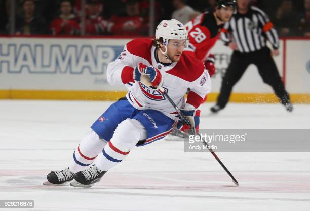 Jonathan Drouin of the Montreal Canadiens skates against the New Jersey Devils at Prudential Center on March 6 2018 in Newark New Jersey