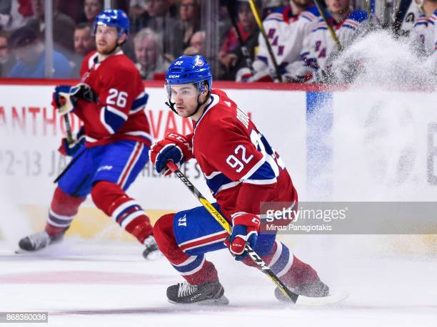 Jonathan Drouin of the Montreal Canadiens skates against the New York Rangers during the NHL game at the Bell Centre on October 28 2017 in Montreal...