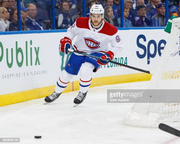 Jonathan Drouin of the Montreal Canadiens skates against the Tampa Bay Lightning at Amalie Arena on March 10 2018 in Tampa Florida 'n