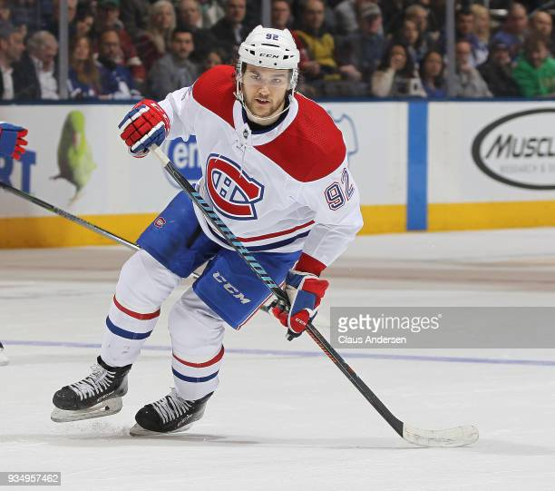 Jonathan Drouin of the Montreal Canadiens skates against the Toronto Maple Leafs during an NHL game at the Air Canada Centre on March 17 2018 in...