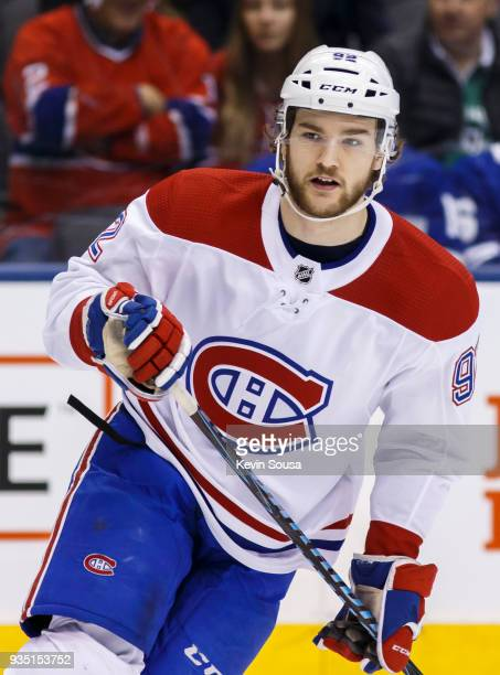 Jonathan Drouin of the Montreal Canadiens skates against the Toronto Maple Leafs during the first period at the Air Canada Centre on March 17 2018 in...