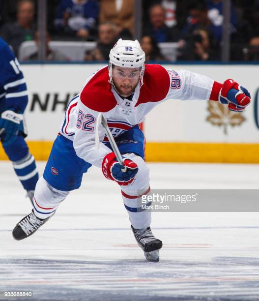 Jonathan Drouin of the Montreal Canadiens skates against the Toronto Maple Leafs during the second period at the Air Canada Centre on March 17 2018...