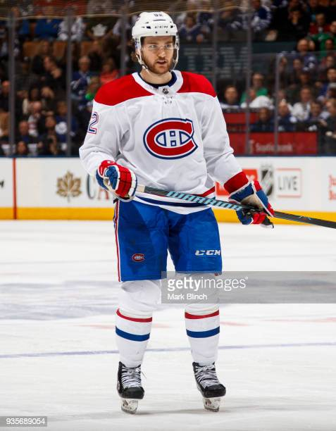 Jonathan Drouin of the Montreal Canadiens skates against the Toronto Maple Leafs during the third period at the Air Canada Centre on March 17 2018 in...