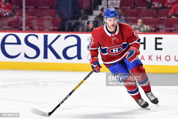 Jonathan Drouin of the Montreal Canadiens skates against the Vegas Golden Knights during the warmup prior to the NHL game at the Bell Centre on...