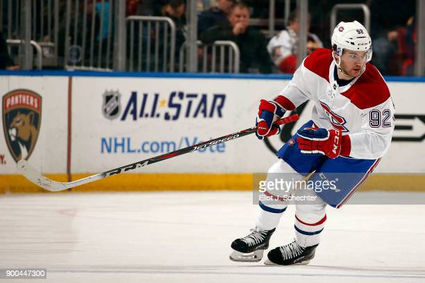 Jonathan Drouin of the Montreal Canadiens skates for position against the Florida Panthers at the BBT Center on December 30 2017 in Sunrise Florida