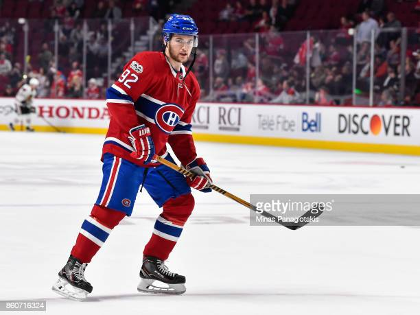 Jonathan Drouin of the Montreal Canadiens skates in the warmup against the Chicago Blackhawks during the NHL game at the Bell Centre on October 10...