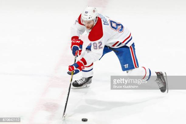 Jonathan Drouin of the Montreal Canadiens skates with the puck against the Minnesota Wild during the game at the Xcel Energy Center on November 2...