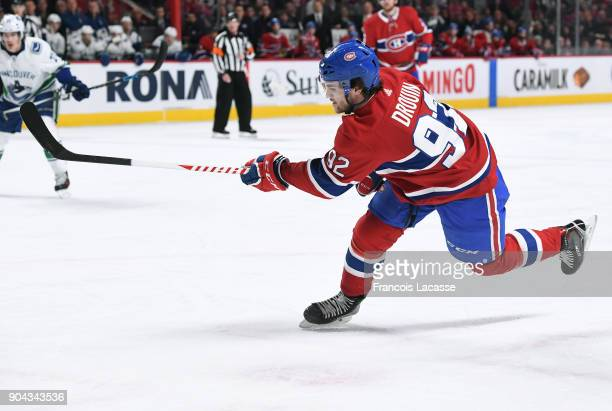 Jonathan Drouin of the Montreal Canadiens takes a shot against the Vancouver Canucks in the NHL game at the Bell Centre on January 7 2018 in Montreal...