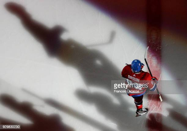 Jonathan Drouin of the Montreal Canadiens takes to the ice prior the NHL game against the New York Islanders at the Bell Centre on February 28 2018...