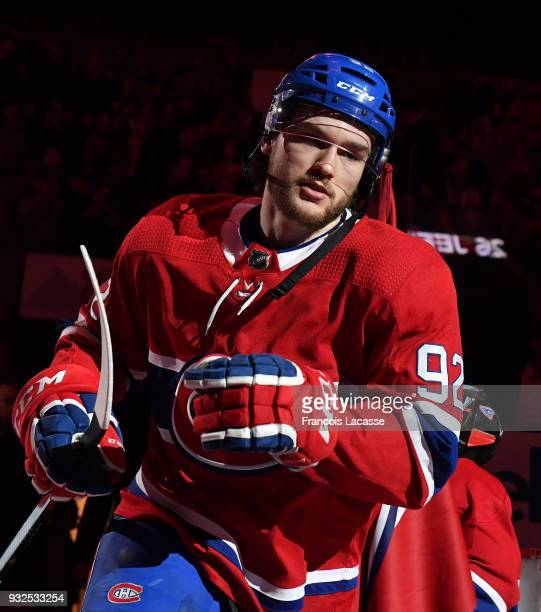 Jonathan Drouin of the Montreal Canadiens takes to the ice prior the NHL game against the Dallas Stars at the Bell Centre on March 13 2018 in...