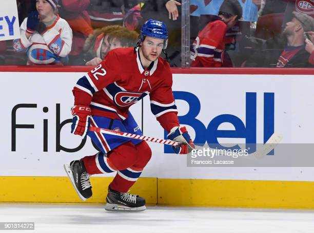 Jonathan Drouin of the Montreal Canadiens warms up prior to the NHL game against the Tampa Bay Lightning at the Bell Centre on January 4 2018 in...