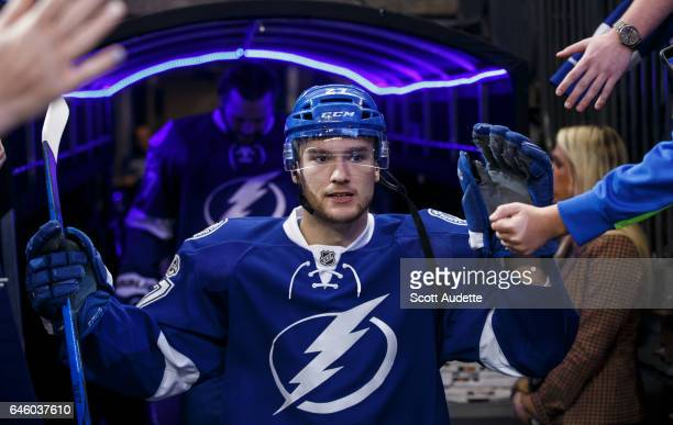 Jonathan Drouin of the Tampa Bay Lightning gets ready for the game against the Ottawa Senators at Amalie Arena on February 27 2017 in Tampa Florida