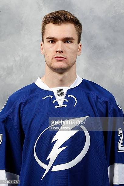 Jonathan Drouin of the Tampa Bay Lightning poses for his official headshot for the 20152016 season on September 17 2015 at Amalie Arena in Tampa...