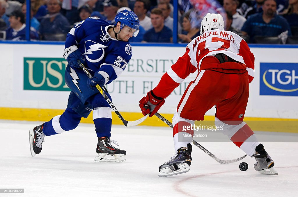 Jonathan Drouin #27 of the Tampa Bay Lightning shoots past Alexei Marchenko #47 of the Detroit Red Wings during the second period in Game One of the Eastern Conference Quarterfinals during the 2016 NHL Stanley Cup Playoffs at Amalie Arena on April 13, 2016 in Tampa, Florida.