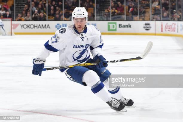 Jonathan Drouin of the Tampa Bay Lightning skates against the Boston Bruins at the TD Garden on March 23 2017 in Boston Massachusetts