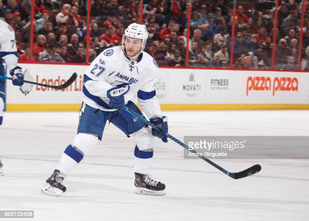 Jonathan Drouin of the Tampa Bay Lightning skates against the Ottawa Senators at Canadian Tire Centre on March 14 2017 in Ottawa Ontario Canada