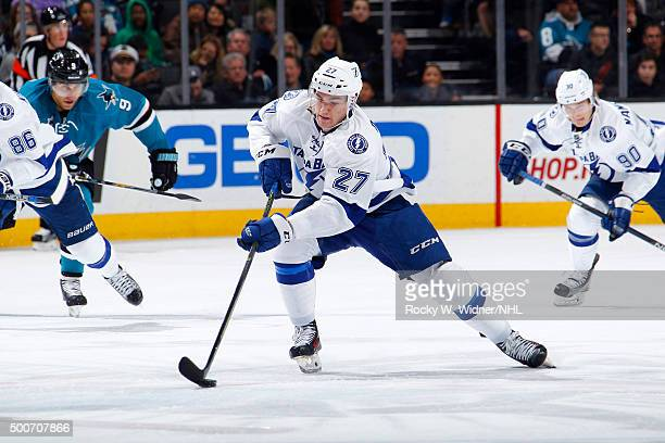 Jonathan Drouin of the Tampa Bay Lightning skates with the puck against the San Jose Sharks at SAP Center on December 5 2015 in San Jose California