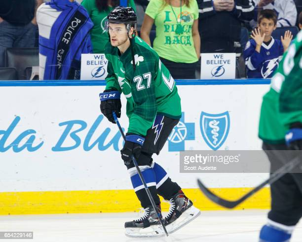 19a4c3532 Jonathan Drouin of the Tampa Bay Lightning wears a green St Patrick's Day  warmup jersey as