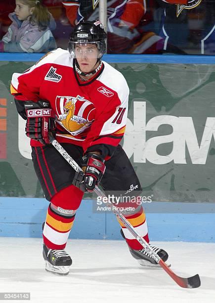 Jonathan Duchesneau of the Baie-Comeau Drakkar skates against the Gatineau Olympiques at Centre Robert-Guertin on November 19, 2004 in Gatineau,...