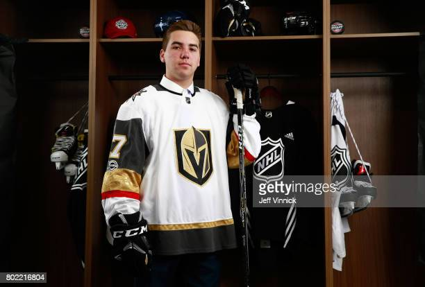 Jonathan Dugan 142nd overall pick of the Vegas Golden Knights poses for a portrait during the 2017 NHL Draft at United Center on June 24 2017 in...